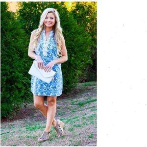 Mudpie Blue Kate Crochet Shift Dress